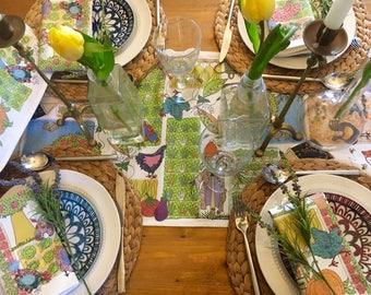 Farm Table Runner - Thanksgiving table- Country kitchen-Household linen for a dinner party table-vegetable garden-Christmas gift for family