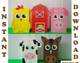 Barnyard Party Bags/ Barnyard Birthday Party Bags/ Farm Animals Party Bags/ Farm Animals Favor Bags/ Barnyard theme Party Favors/ Supplies