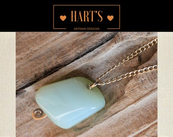 Green Chalcedony 14K Gold Pendant Necklace