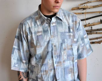 Abstract print summer shirt 1990s 1980s hipster 80s oversize short sleeve polo