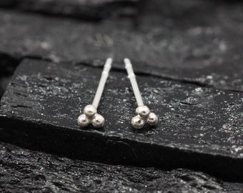 Sterling silver Three balls stud Earring
