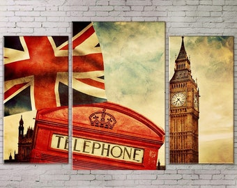 Large Wall Art, Urban Landscape, London Big Ben, 3 piece, Art Print on Canvas, Extra Large Art, Red Phone Box, Retro Photos, Living Room Art