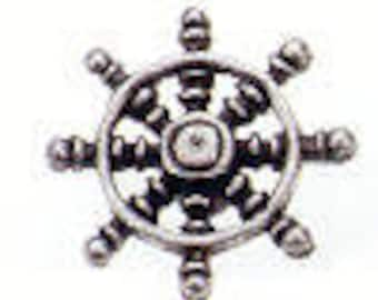 SHIP'S WHEEL Danforth shank pewter button