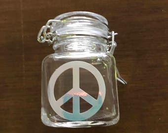 Peace sign Stash Jar