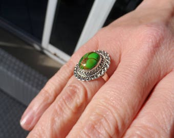 Silver Green Turquoise stone ring