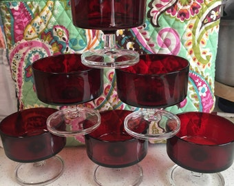 Ruby Luminarc sherbet dishes 6 group