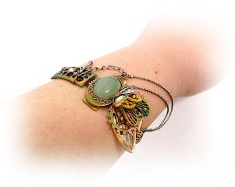 Brass Steampunk Bracelet _STB6541208457_Steampunk Accessories_Bracelet with Jade_Gift Ideas