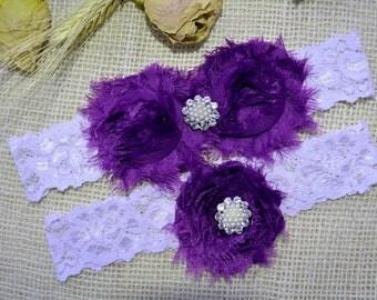Purple Garter, White Garter Set, Garter Set Purple, Bridal Garter, Garter For Wedding,  Bridesmaid Garter, Purple Garters, White Keep Garter