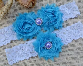 Turquoise Garters, Bridal Garter Set, Wedding Garter, Toss Garter, You Blue Garter, Lace Garter, Turquoise Crystal Garter, White Lace Garter