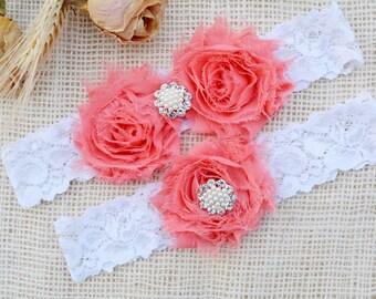 Vintage Pink Garter, White Lace Garter, Lingeri Garter, Wedding Belt, Gift For Bride, Lace Garter Set, Garter Set, Bridal Gift, Coral Garter