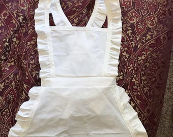 Ruffled white apron