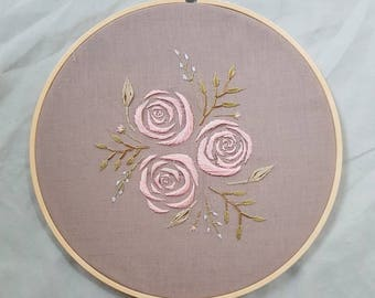 "original embroidery ""Summer Roses"" wall hanging/home decor"