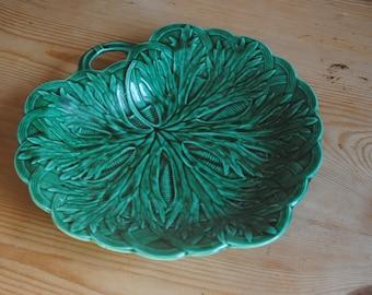 Antique C. 1880 Wedgwood Green oak or artichoke leaf Basket Majolica handled Dish Plate Platter