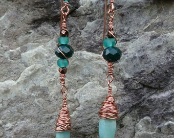 Copper earrings, turquoise blue and emerald green, asymmetrical.