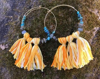 Yellow Fringe Hoops with Turquoise and Labradorite chip beads