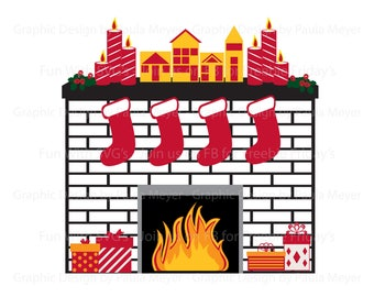 Svg stocking etsy for Stocking clips for fireplace
