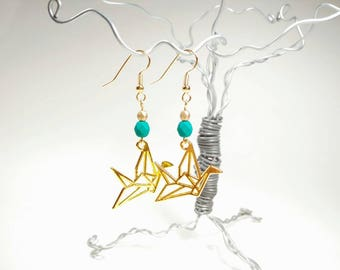 Gold Origami Crane Earrings - Turquoise Green