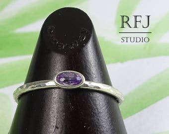 Oval CZ Amethyst Hammered Silver Ring, Oval Cut Simulant Amethyst Ring, Oval Purple Cubic Zirconia Ring, Stacking February Birthstone Ring