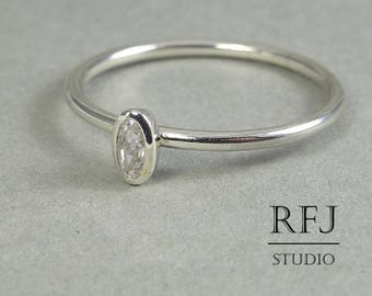 Oval Diamond CZ Silver Ring, Stacking August Birthstone Sterling Silver Ring Oval Cut Simulate Diamond Ring, Oval White Cubic Zirconia Ring