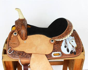 "15"" Native American Stallion Tooled leather Handmade western Horse Rawhide Trail Pleasure Barrel Racer Racing Saddle"