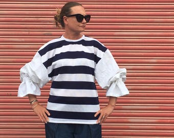 Breton striped sweater shirt, Full Sleeves, Navy and White Striped Top