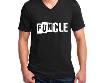 Family T-Shirt Funcle  Ringspun Men V-Neck T-Shirt