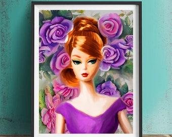 barbie vintage, silkstone, barbie retro, barbie art painting.
