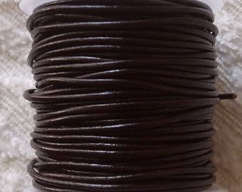 Brown Leather Cord, 1 Yard Round Leather Cord, 1.5 mm Brown Real Leather Cord, Necklace Cord, Bracelet Cord
