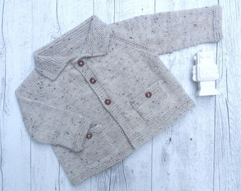Little Cardigan with Pockets - Hand Knitted - Made to Order - Australian Wool