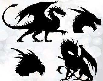 Dragons Svg - Game of thrones dragons svg -  Dragon cut files -  png, svg files for cricut, cameo - Dragon Digital - Dragon Silhouette