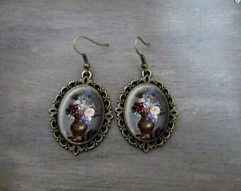 Boucles d'oreilles Ovales festonnées, Boucles d'oreilles cabochon rétro vintage bijoux romantique Vase de fleurs