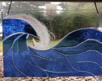 Blue Ocean Waves Stained Glass Window Panel