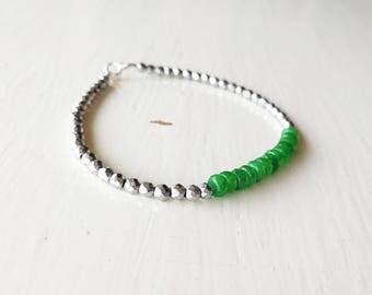 Emerald bracelet, hematite bracelet, silver jewelery