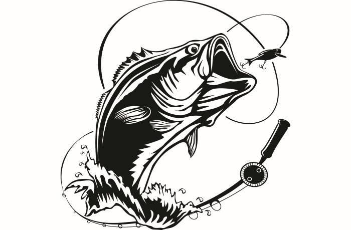 Bass Fishing 5 Logo Angling Fish Hook Fresh Water Hunting Largemouth Smallmouth Striped SVG EPS PNG Clipart Vector Cricut Cut Cutting