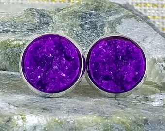 Purple Druzy Earrings - Druzy - Bridesmaid Gift - Stud Earrings - Druzy Jewelry - Purple - Earrings - Drusy - Jewelry - Valentine's Day Gift