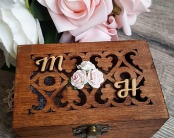 Ring Bearer Box - Rustic Brown (Rectangular Fretwork) | Wedding Ring Box | Ring Box | Rustic Ring Bearer Box