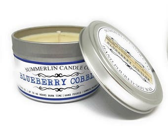 Summerlin Candle Company 6 Oz Soy Wax, Candle Tin, Blueberry Cobbler Fragrance, Up To 40 Hours Burn Time