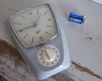 Hettich wall clock vintage horloge + timer 60s ceramique