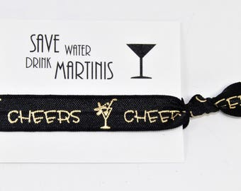 Wedding Favors, Save Water Drink Martinis, Cheers, Aloha, Bridesmaid Hair Tie Favor, Wedding, Bridesmaids, Bachelorette, Bridal, Party Favor