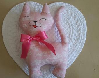 Cat decor TILDA fabric pink
