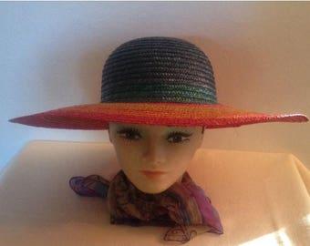 On Sale Vintage 80's Liz Claiborne Multi Color Sun Hat