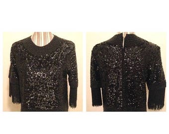 On Sale Absolutely Stunning Vintage Black Sequin Beaded Sweater