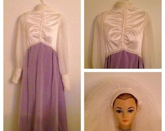 Anniversary Sale Gorgeous Vintage Cream and Lilac Wedding Gown with Veil