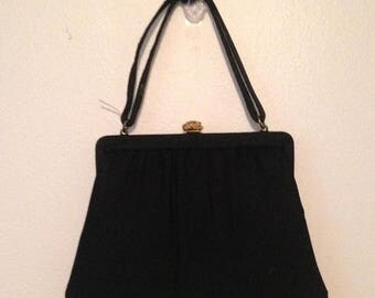 Anniversary Sale Vintage Black Handbag with Change Purse