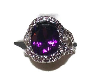 Vintage Silvertone and Amethyst Statement Ring