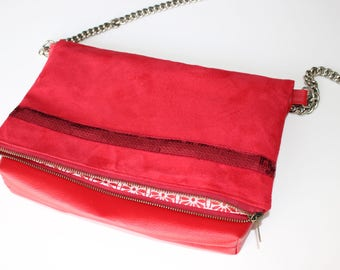 Large red clutch bag, reversible flap with sequined band