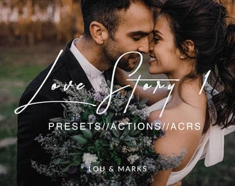 Love Story 1 for Lightroom & Photoshop Actions, Presets, ACRs for Bright Portrait and Modern Moody Wedding Edits in Lightroom Photoshop