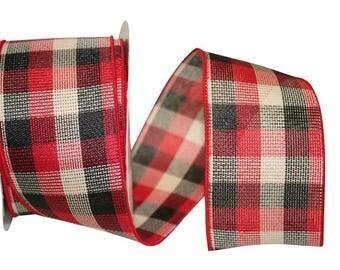 "2 1/2"" Christmas Red & Black Check Ribbon - WE"