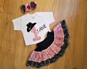 Western Birthday Outfit, Ruffled  Skirt, First Birthday, Rodeo Set , Cowgirl Birthday Outfit, Western Bodysuit Skirt Set,Western Skirt