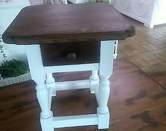 Side table Table White Brown shabby solid